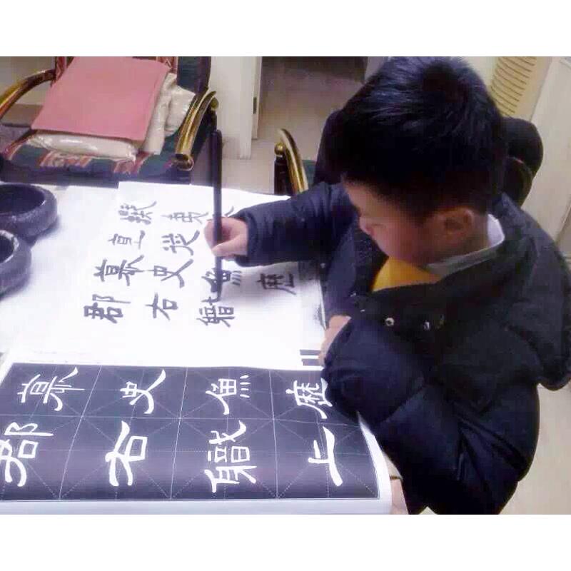 冯雪林书法培训 练习书法的小学生