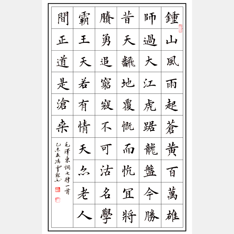 毛泽东著名七律《人民解放军占领南京》楷书 红色经典 红色书法