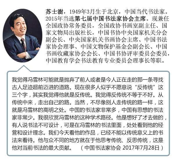 中国书法家协会主席苏士澍携书协评审员点评冯雪林作品