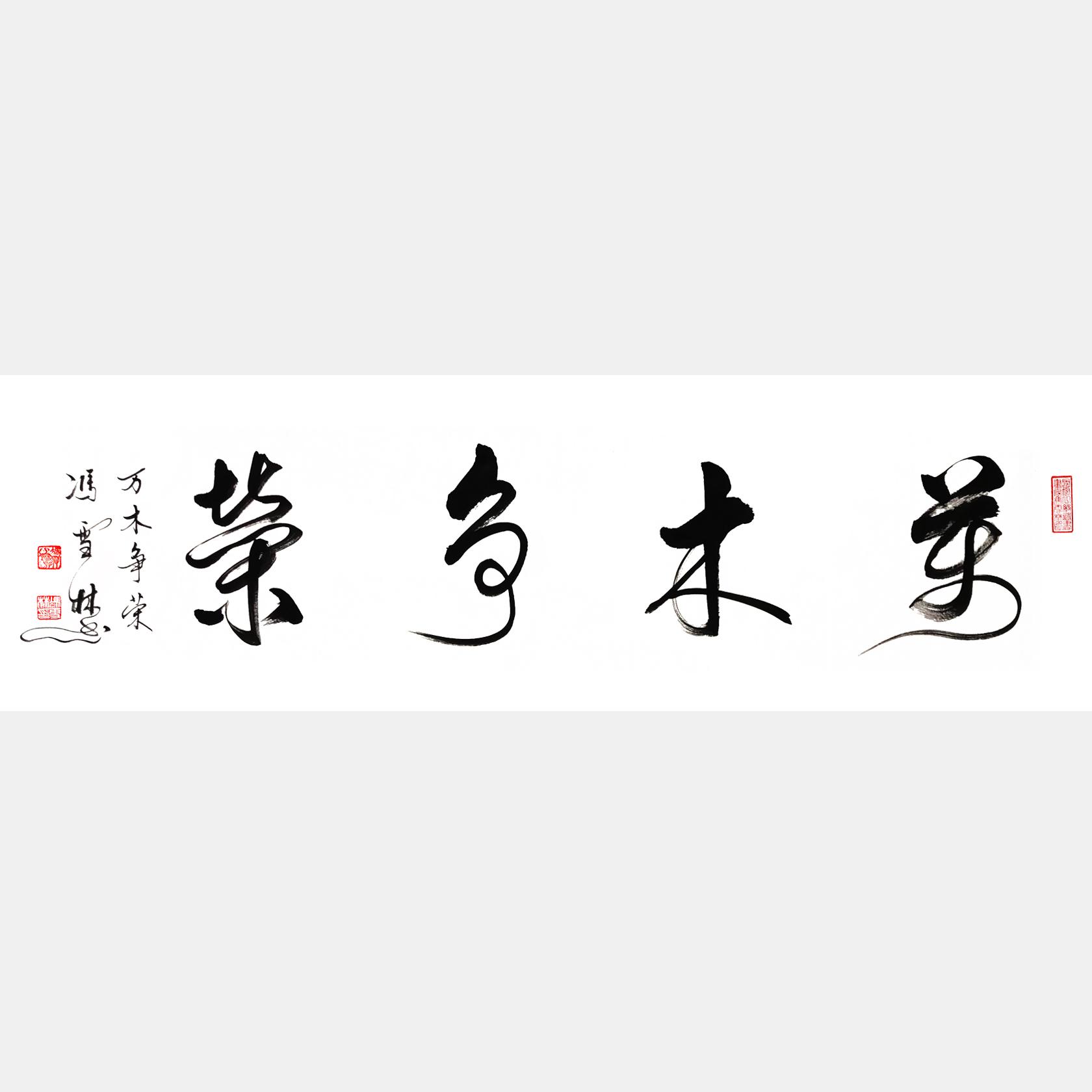 万木争荣书法作品 草书四尺横幅