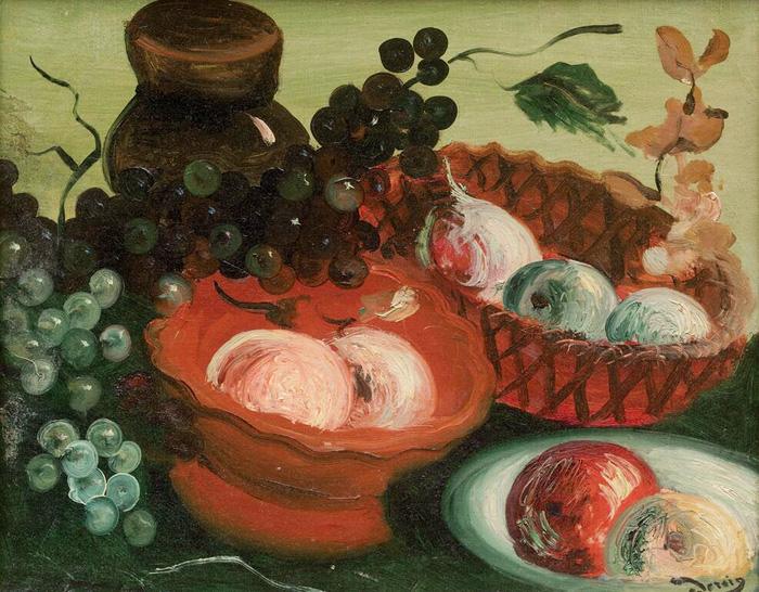 德朗《静物水果和罐子》