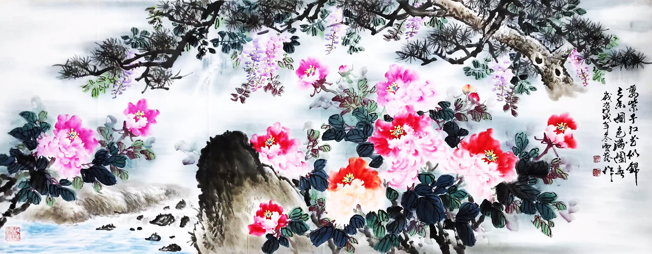 国画花鸟画《万紫千红》