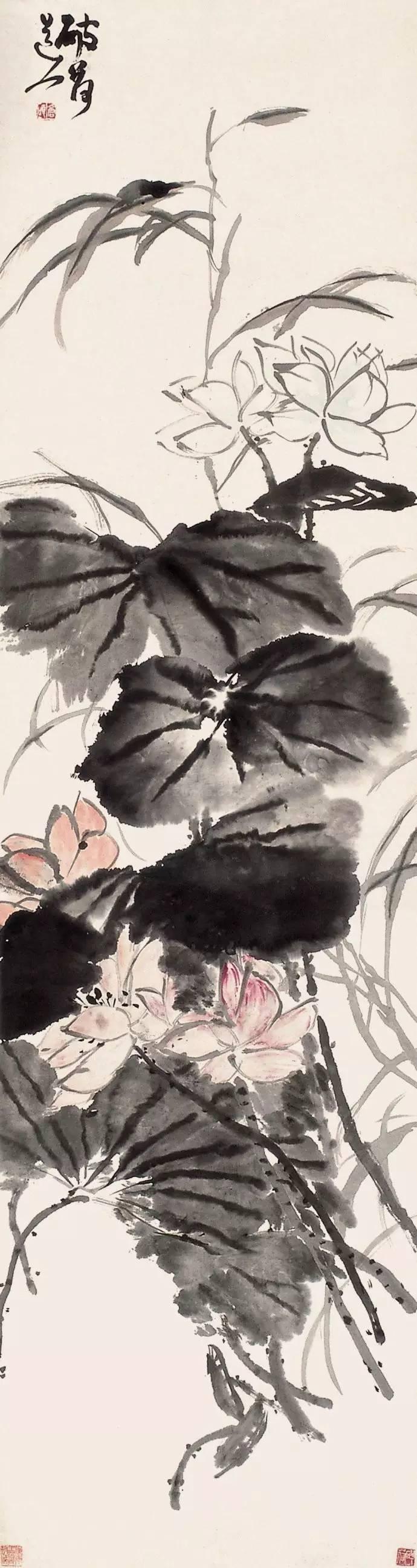 吴昌硕国画《荷花》