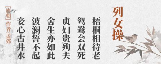 列女操(古诗词作者、翻译注解及赏析)